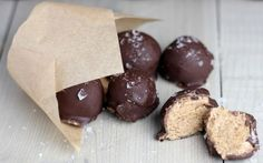 In this recipe, coconut flour and almond butter are blended together, coated in vegan chocolate, and then frozen solid.