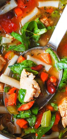 Chicken Vegetable Soup with Pasta: healthy, delicious, easy-to-make! Filled with vegetables: spinach, green bell pepper, carrots, tomatoes, and beans. Great dinner and a perfect lunch!