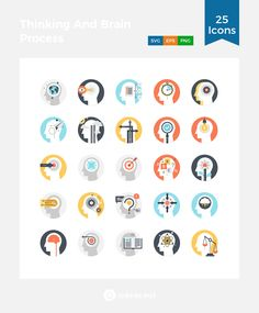 Thinking And Brain Process  Icon Pack - 25 Flat Icons