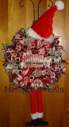 Santa Mesh Wreath with Plush Hat and Legs by StarlightWreaths