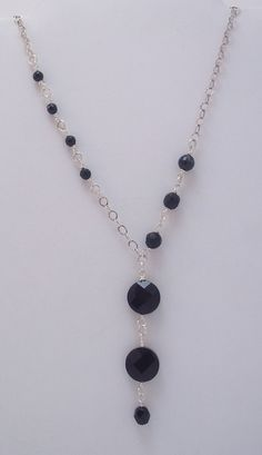 Black Onyx Gemstone, Coin Pendant, Y Necklace, Sterling Silver, Wire Wrapped,  Faceted, Long Necklaces, Jet Black, Elegant, Textured Chain