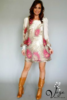 New Peacock Feather Dress available at Voge Boutique! Find us at www.facebook.com/VogeSA