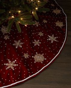 Christmas Stockings & Tree Skirts at Neiman Marcus Diy Christmas Tree Skirt, Xmas Tree Skirts, Christmas Tree Skirts Patterns, Christmas Runner, Christmas Sewing, Christmas Projects, Holiday Crafts, Christmas Time, Christmas Stockings