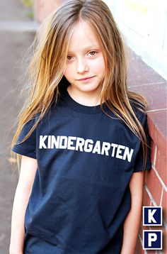 "Kids ""Kindergarten"" Tee Shirt By Hatch For Kids - Children's Clothing T-shirt Animal House Bluto College School Preschool - Size 6, 8 by HatchForKids on Etsy"