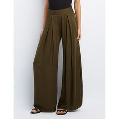 Charlotte Russe Pleated Wide-Leg Pants ($30) ❤ liked on Polyvore featuring pants, olive, woven pants, zipper pants, brown pants, pleated wide leg pants and rayon pants