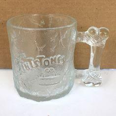 The Flintstones Pre Dawn Glass Etched McDonald's Vintage 1993 Coffee Mug Cup #McDonalds