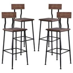 Jobe Industrial Metal Barstool in Silver Brushed Gray with Rustic Pine Wood Seat and Back - Set of Brown Grey Bar Stools, Cool Bar Stools, Metal Bar Stools, Modern Bar Stools, Coastal Furniture, Bar Furniture, Shabby Chic Furniture, Modern Furniture, Chairs For Small Spaces