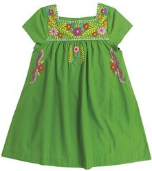 Pink Chicken - Girl's Embroidered Green Marabelle Dress kid-s-fashion Little Girl Dresses, Girls Dresses, Summer Dresses, Bcbg, Cool Mom Picks, Baby Frocks Designs, Frocks For Girls, Frock Design, Mexican Dresses