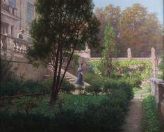 Raimund von Wichera (1862-1925) Abschied im Schlosspark, um 1890. Öl auf Leinwand, 86 x 70 cm