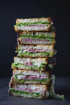 Ham and Gruyere Grilled Cheese with Sweet Pea Spread | Grilled cheese never needs to be boring. We've added sweet green peas and fresh mint for some bright spring flavor.  | Garden bounty | Fresh | Summer sandwich | Picnic | Family Dining | Classic