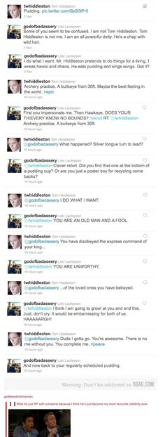Hiddleston and Loki twitter fight...dear lord this actually happened!!!