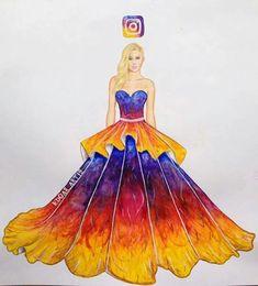 Most Popular Queen Dress Drawing Art 26 Ideas Instagram Logo, Instagram Images, Fashion Illustration Sketches, Fashion Sketches, Vestidos Instagram, Amazing Drawings, Cool Drawings, App Drawings, Social Media Art