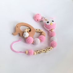 Rattles & Teething Toys – Personalized crochet baby gift set 2 – a unique product by RasvyteEco on DaWanda