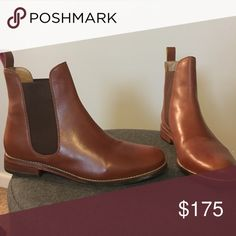 Joules Chelsea boots in light brown Stylish Chelsea boots perfect for spring, fall and winter. They have never been worn and are in excellent shape! 1/2 inch heel with wooden detailing, elastic side for easy removal, hits a little bit above the ankle. Joules Shoes Ankle Boots & Booties