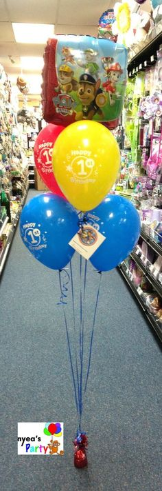 """PAW Patrol Balloon Bouquet First Birthday Bouquet 1-18"""" Paw Patrol Mylar Balloon 4- Happy First Birthday Latex Balloons Helium filled, weighted with card. Delivery charge is not included in price. We"""