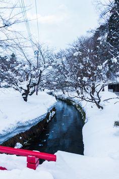 Snow in creek, Hirosaki Park, Aomori, Japan