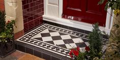 Victorian Floor Tiles - Small Porch Tile Ideas Victorian Floor Tiles can be used in both large and small settings and are a brilliant way of transforming a dull exterior. Add some life to your small porch or path with these small porch ideas. Porch Wall Tiles, Porch Flooring, Brick Flooring, Flooring Ideas, Victorian Front Garden, Victorian Porch, Victorian Tiles, Front Door Steps, Front Door Porch