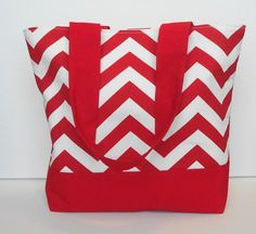 Chevron Red and White Tote by WrapItUpByG on Etsy, $29.00