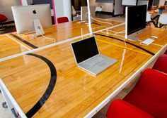 Could I paint top of desk to look like a gym floor? The Origin Workstation is made with reclaimed gym flooring, complete with sport lines. This table will bring any workplace to life. Sports Office, Floor Desk, Basketball Court Flooring, Office Workstations, Office Desks, Office Kit, Office Spaces, Work Spaces, Public Spaces