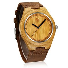 Tamlee Mens Bamboo Watch Japan Movement Quartz With Genuine Leather Band Watches Creative Gifts *** Details can be found by clicking on the image.