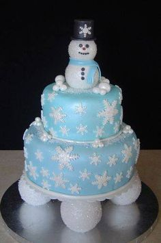Birthday Cakes for Kids& Parties: Snowman Cake Holiday Cakes, Christmas Desserts, Christmas Treats, Christmas Cakes, Fancy Cakes, Cute Cakes, Fondant Cakes, Cupcake Cakes, Snowman Cake
