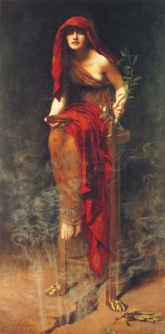 In the painting, 'Priestess Of Delphi' by The Honorable John Collier, a priestess - The Pythia - is depicted in a trance state, seated over a fissure in the rock through which vision-inducing vapors rise from the underground stream. In her left hand is a sprig of laurel - in Greek mythology, Apollo's sacred tree - and in the other hand a bowl meant to hold some of the water from the stream containing the vision-inducing gases.