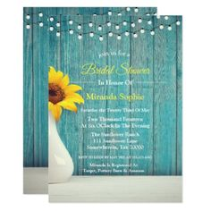 Chic Teal Wood Sunflower String Of Lights Wedding Invitation - spring wedding diy marriage customize personalize couple idea individuel Sunflower Wedding Invitations, Affordable Wedding Invitations, Bridal Shower Invitations, Sunflower Weddings, Top Wedding Trends, Wedding Tips, Diy Wedding, Spring Wedding Colors, Summer Wedding