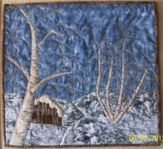 Quilted Wall Hanging  Cabin in the Snow by QuiltAples on Etsy, $100.00