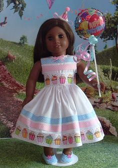Sweet little birthday party dress, headband, shoes, and balloon for your American girl doll, or similar 18 inch dolls. Dress is made from a