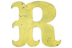 Yellow Metal Marquee Letter R on OneKingsLane.com