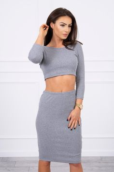 Set de dama fusta si bluza gri prettymoda Blouse And Skirt, Gray Skirt, Sport Casual, Guess Jeans, Crop Tops, Spandex, Skirts, Sleeves, Cotton