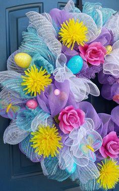 Easter Deco mesh wreath by WonderfulWreathsKim on Etsy