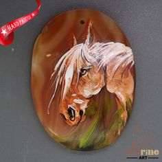Creative  Pendant Hand Painted Horse Natural Gemstone   ZL806026 #ZL #Pendant