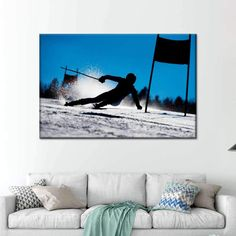 Skier Silhouette Multi Panel Canvas Wall Art is a real treat for any ski lover. Baby, it's cold outside, but this stunning art print will make your home look warm and cozy like a ski lodge! Print Artist, Artist Canvas, Artist Painting, Artist Art, Canvas Wall Art, Canvas Prints, Art Prints, Silhouette Png, Blues Artists