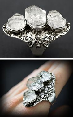 RAW HERKIMER DIAMOND Ring - 3 Stone Long Aged Tibet Silver