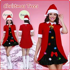 7d08441b3e8 Petite and quiet girl christmas costume featuring short red sleeve coat  with bow front and inside dress with colorful widgets front.