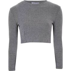 Grey Ribbed High Neck Crop Top (€23) ❤ liked on Polyvore featuring tops, sweaters, crop tops, shirts, grey, cropped sweater, long sleeve sweaters, cropped long sleeve shirt, high neck sweater and gray sweater