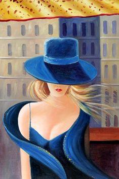 Dama moderna en traje azul y sombrero