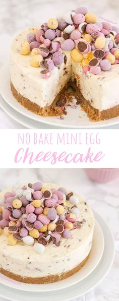Make your own no bake mini egg cheesecake with this dessert recipe. This cheesecake is the perfect food idea for Easter and spring.