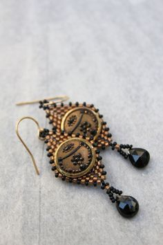 Hand beaded dangel earrings made with antique vintage by pjlacasse