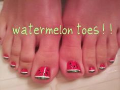 Watermelon Toes!! Not sure I have the need for these, but they're presh.