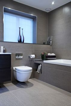 Bathroom Renovation Ideas: bathroom remodel cost, bathroom ideas for small bathrooms, small bathroom design ideas Grey Bathroom Tiles, Gray Bathroom Decor, Family Bathroom, Bathroom Layout, Modern Bathroom Design, Bathroom Interior Design, Interior Ideas, Grey Tiles, Bath Design