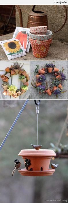 DIY-jardin-pot-fleur : jolie mangeoire . A faire pour l'hiver prochain ...