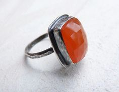 carnelian and sterling silver ring $75