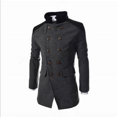 2016 New Brand European Style Double Breasted Korean Men Jacket Cheap China Onlion Top Sale 2016 Mens Peacoat Cotton Wool S240