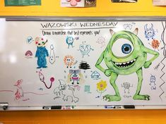 "274 Likes, 7 Comments - DeAnna Morgan (@mrsdrmorgan) on Instagram: ""Wazowski Wednesday! Draw a monster that best represents you!  #Whiteboard #WhiteboardArt…"""