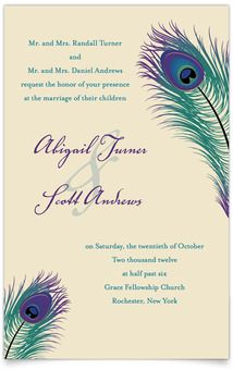 Flat Rectangle Wedding Invitations - Peacock Pizzazz. TOTALLY GORGEOUS!