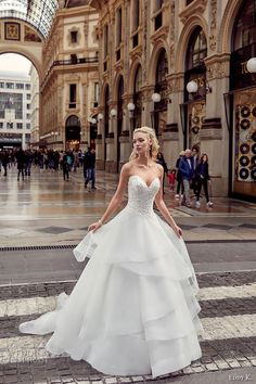 eddy k milano bridal 2017 strapless sweetheart neckline heavily embellished bodice tiered horsehair hem princess ball gown wedding dress (md223) mv