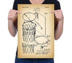 Vintage 1925 « but de Basket-Ball » brevet de dessin, rétro Art Print Poster…