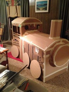 Thomas the train made out of boxes phase 1